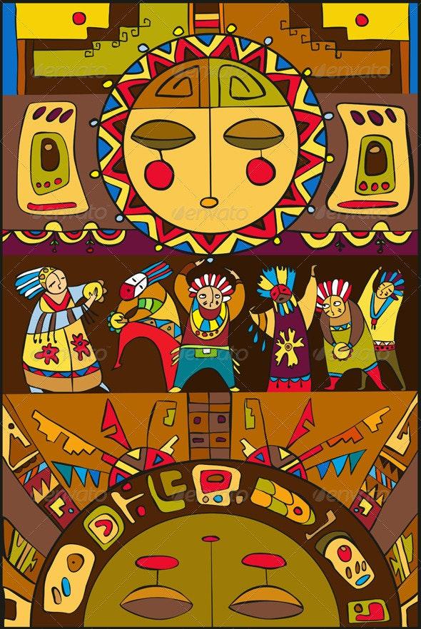 Ethnic People Sun Background - Backgrounds Decorative