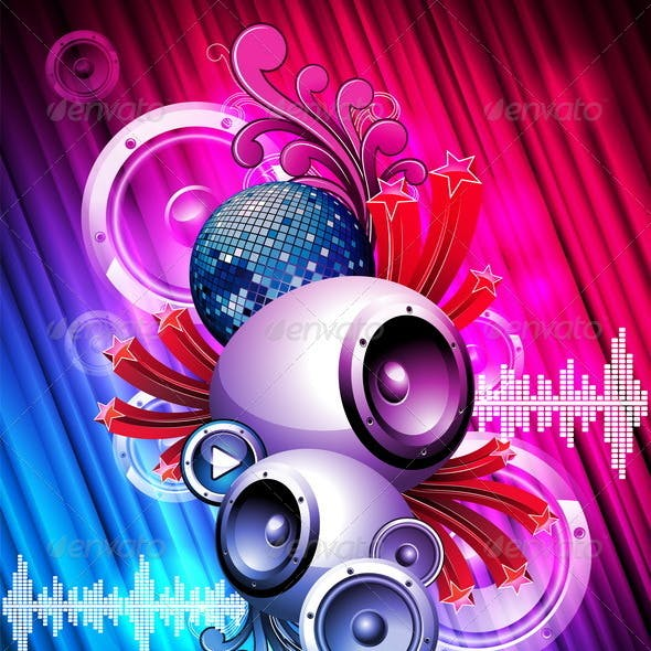 Abstract vector background with speaker.
