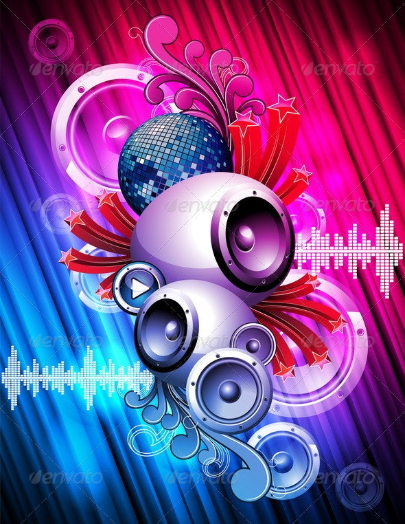 Abstract vector background with speaker. - Miscellaneous Conceptual