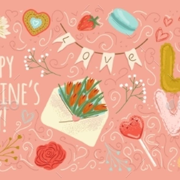 Vealentines Day Poster and Card Hand Drawn Vector