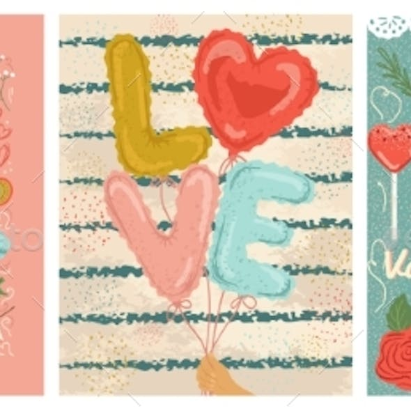 Vealentines Day Posters and Cards Vector
