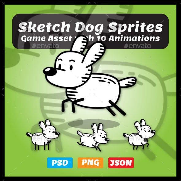 Stickman Dog Sprites | 2D Game Asset for Game Developers
