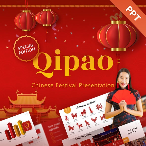 Qipao Chinese Festival Powerpoint Presentation Template - Creative PowerPoint Templates