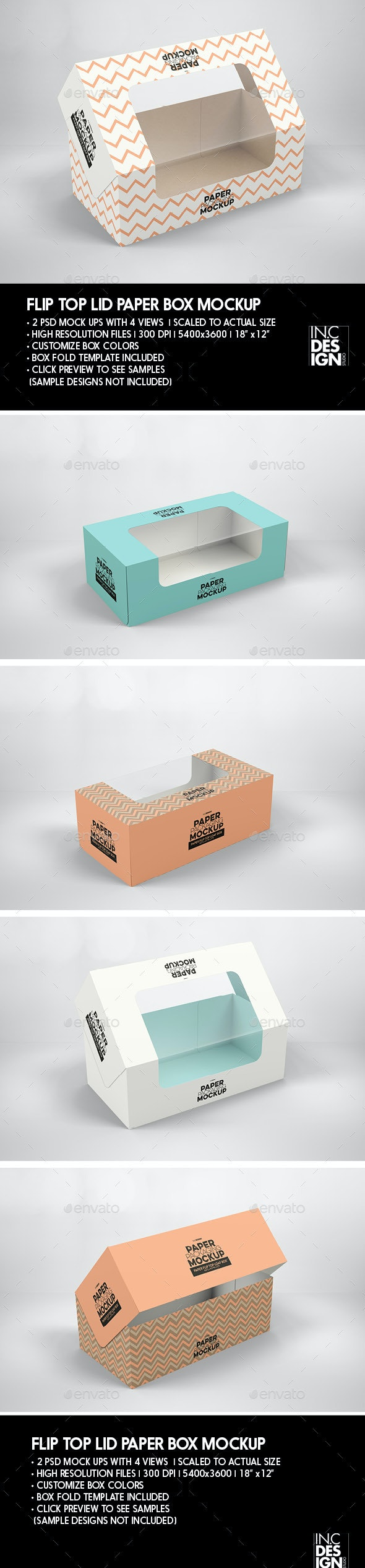 Flip Top Loaf Box with Window Packaging Mockup - Product Mock-Ups Graphics
