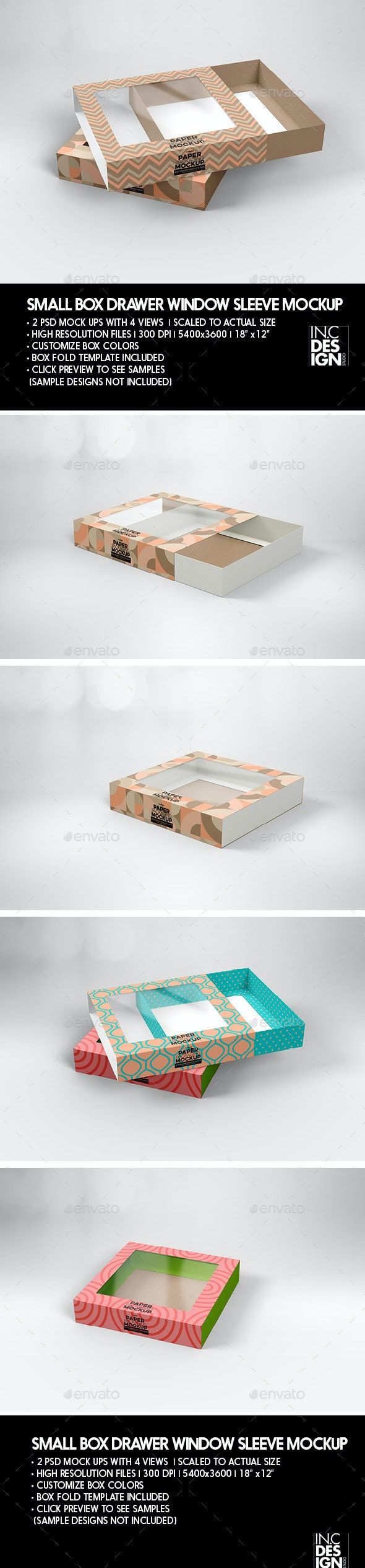 Small Box Drawer with Window Sleeve Packaging Mockup - Product Mock-Ups Graphics