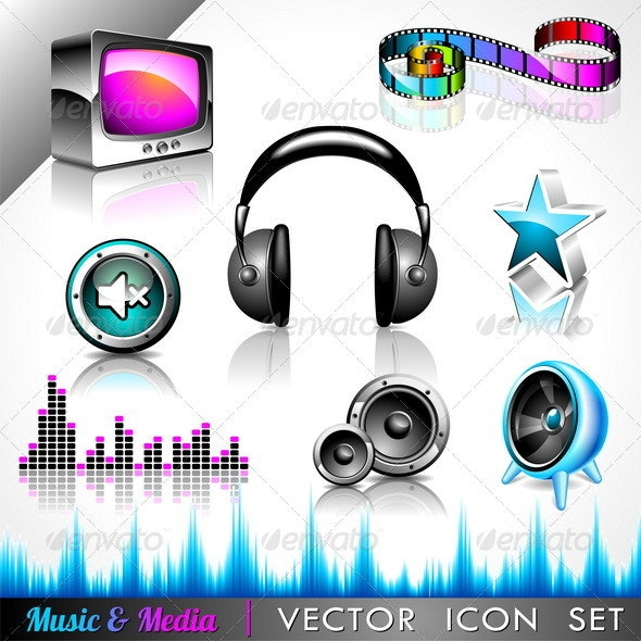 Vector icon collection on a music and media theme. - Media Technology