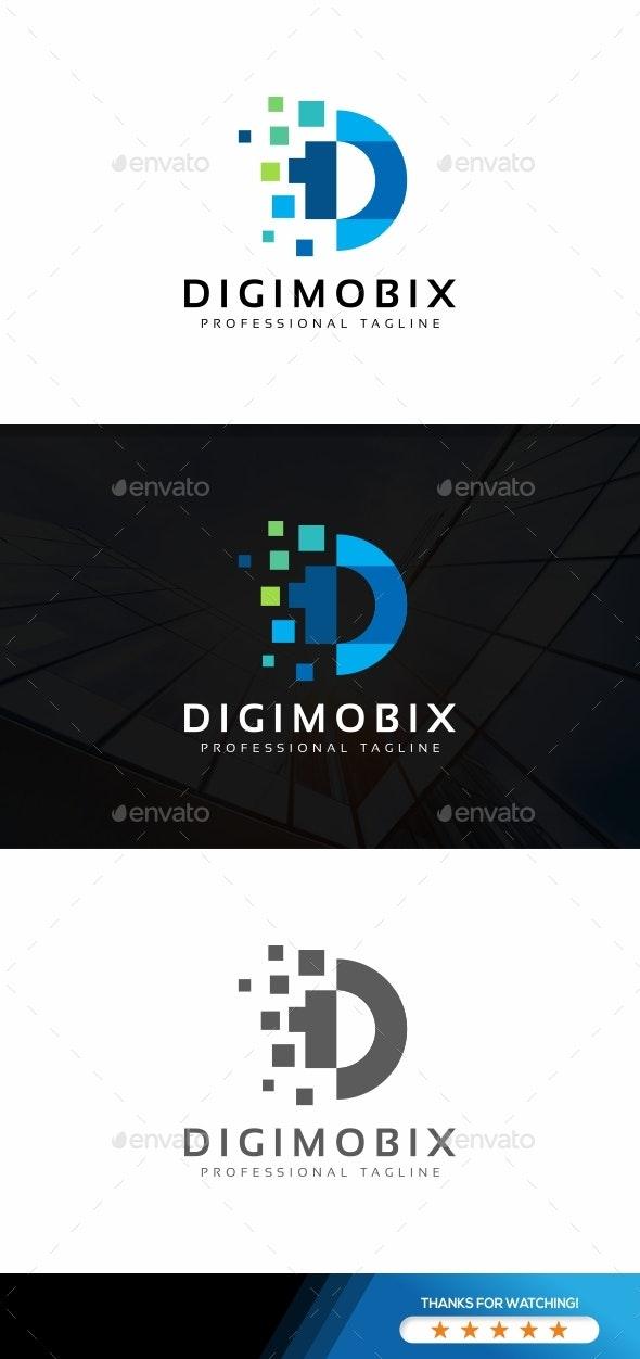 Digital Pixel D Letter Logo - Letters Logo Templates