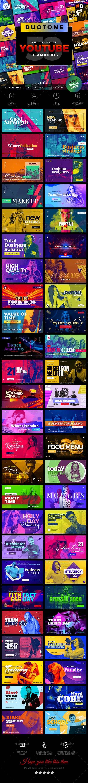50 Youtube Thumbnail Duotone - V8 - Social Media Web Elements
