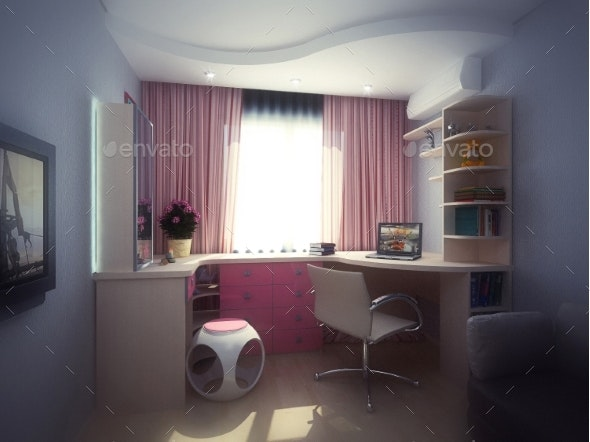 3d Illustration Concept of Interior Design of a - Objects 3D Renders
