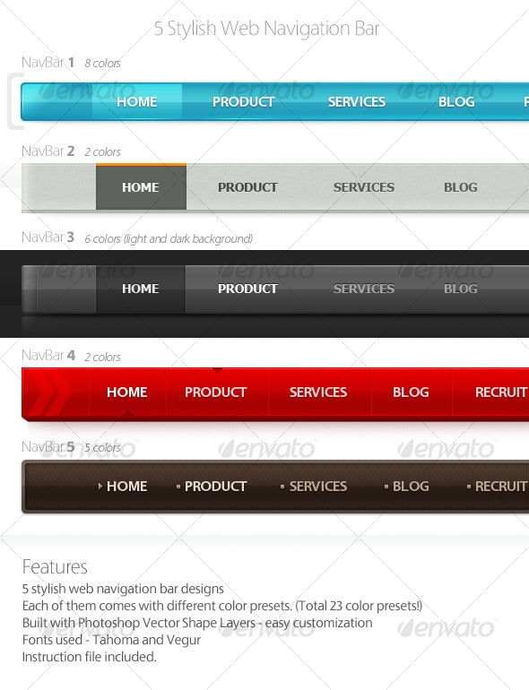 5 Stylish Web Navigation Bars - Miscellaneous Web Elements