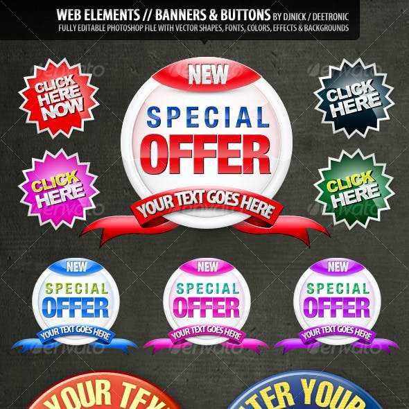 Web Elements: Banners & Buttons layered PSD