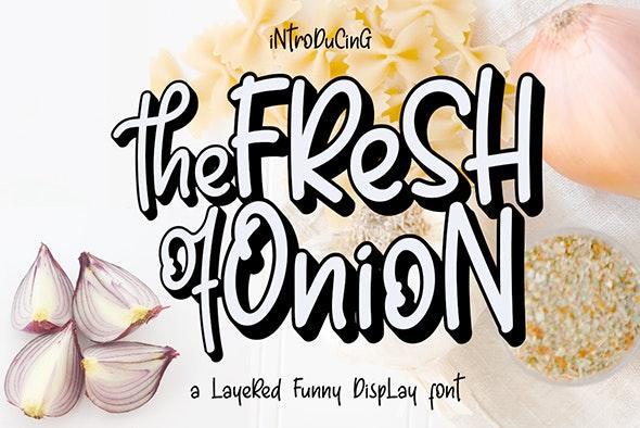 Fresh Onion // Layered Funny Display Font - Comic Decorative