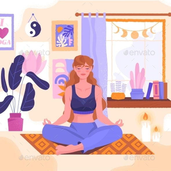 Meditating Young Woman Sitting in Lotus Pose