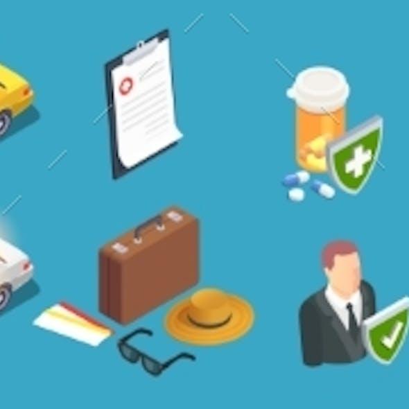Insurance Isometric Icons Set