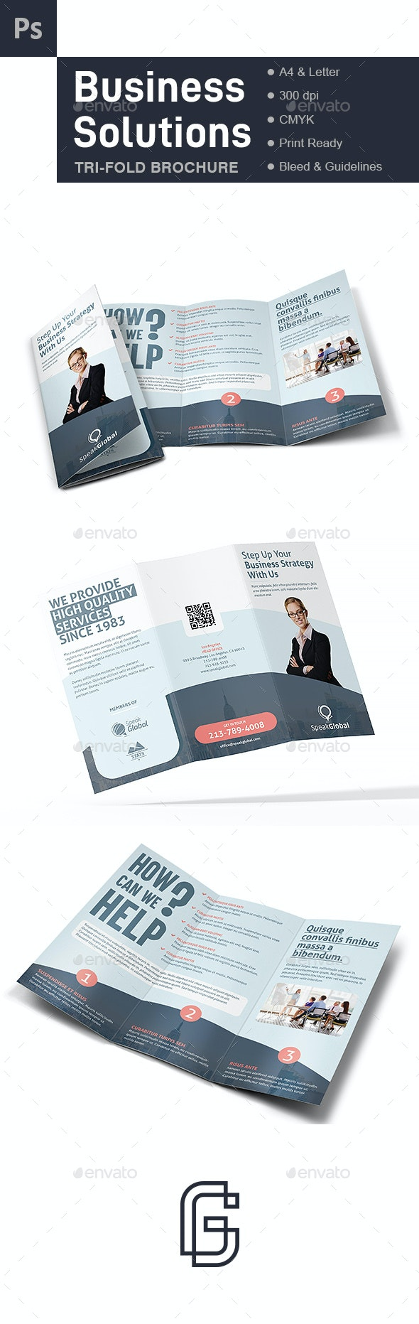 Business Trifold Brochure Template - Corporate Brochures