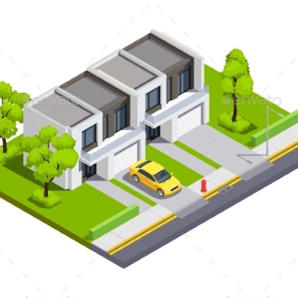 Suburban Buildings Isometric Vector Illustration