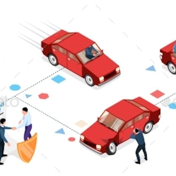 Isometric Car Insurance Infographics