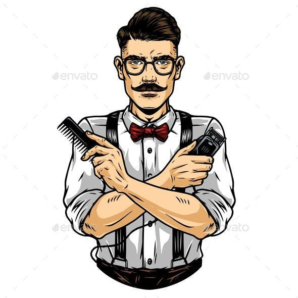 Trendy Mustached Barber in Glasses