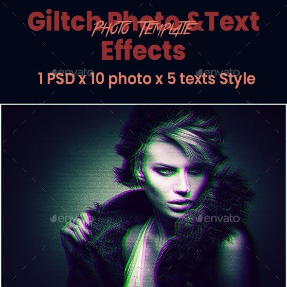Glitch Photoshop Photo & Text effects
