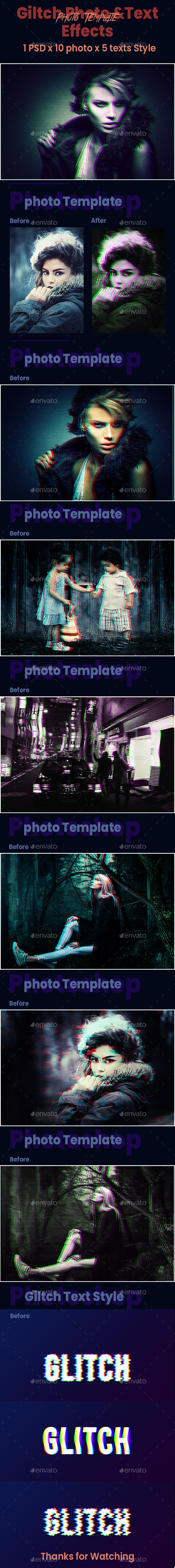 Glitch Photoshop Photo & Text effects - Photo Templates Graphics