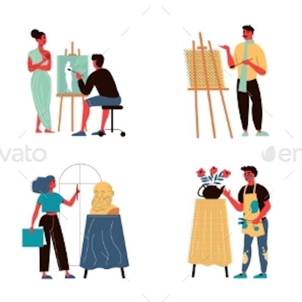 Artist Illustrators Icon Set