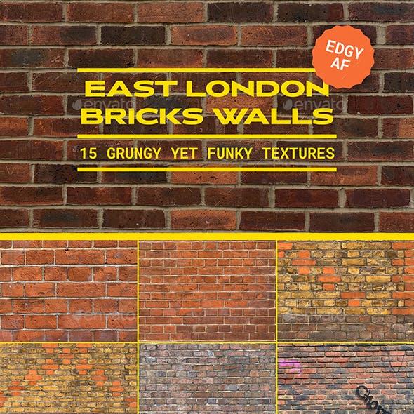 15 East London Brick Walls Background Textures