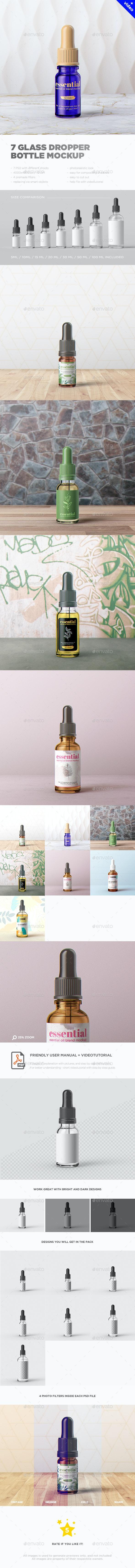 7 Glass Dropper Bottle MockUp - Miscellaneous Packaging