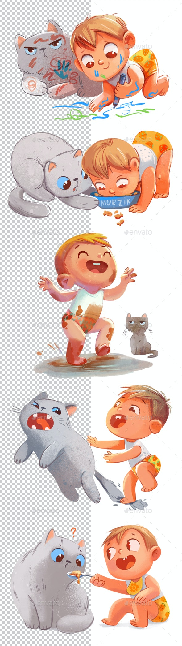 Toddler and Cat - Characters Illustrations