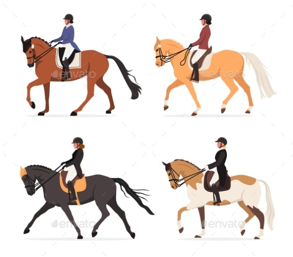 Vector Set of Young Horsewoman at Racecourse - Animals Characters