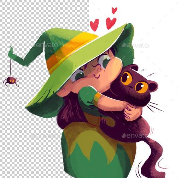 Witch Hugs Cat