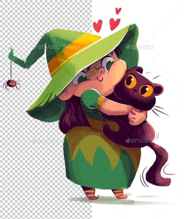 Witch Hugs Cat - Characters Illustrations