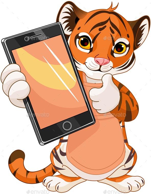 Cute Tiger holding tablet - Characters Vectors