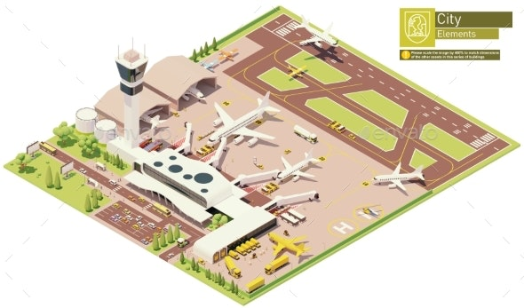 Vector Isometric Airport Terminal - Buildings Objects