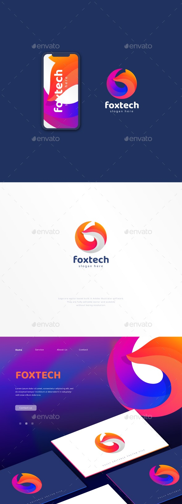 Abstract Colourful Circular Fox Logo - Animals Logo Templates