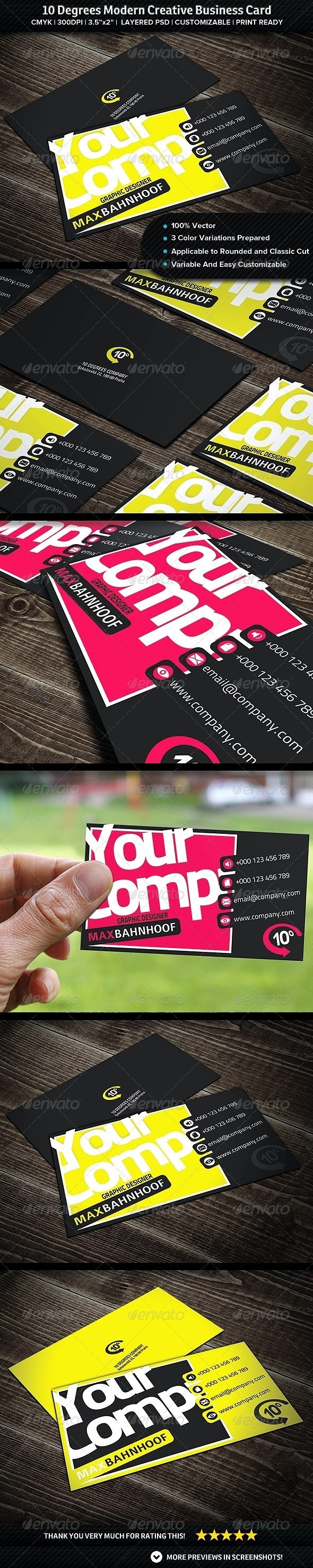 10 Degrees Modern Creative Business Card - Creative Business Cards