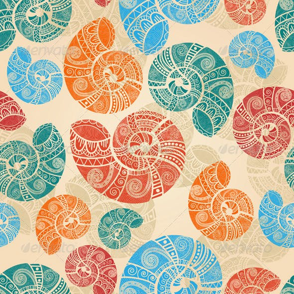 Vector Seamless Snail Pattern
