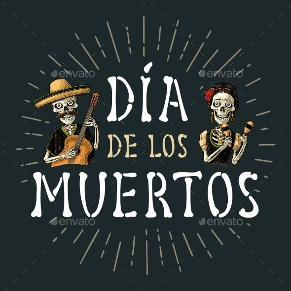 Skeletons with Maracas and Guitar Dressed