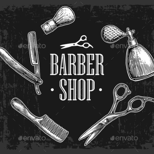 Set Tool for BarberShop Vector Hand Drawn Vintage