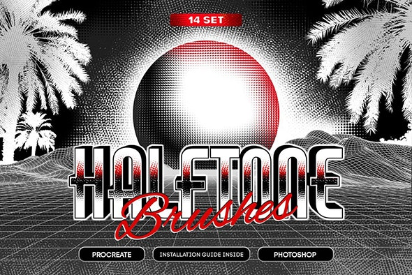 14 Halftone Procreate & PS Brushes - Brushes Photoshop