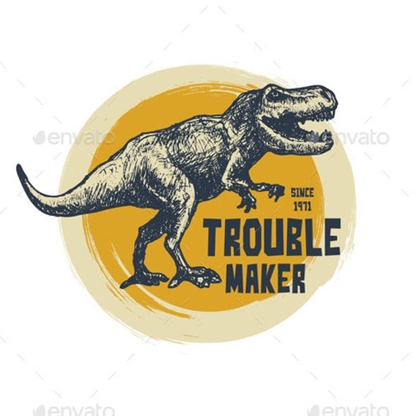 Vintage Typography Tshirt Graphics with Trex Face