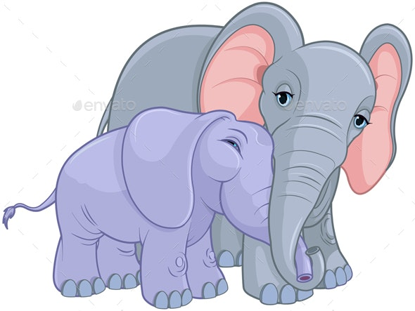 Mother and Baby Elephant - Animals Characters