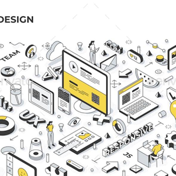 Website Design Isometric Banner Illustration