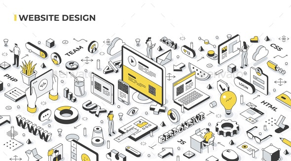 Website Design Isometric Banner Illustration - Technology Conceptual