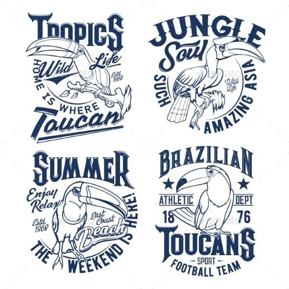 Tshirt Prints with Toucan Vector Apparel Mascots
