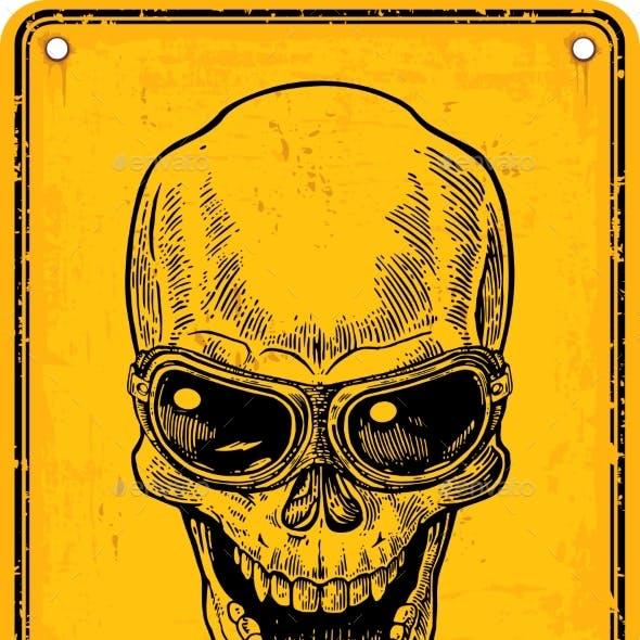Skull on Sign Danger