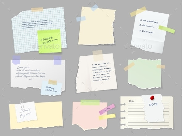 Notes Memo Paper Sheets on Adhesive Tape Vector - Objects Vectors