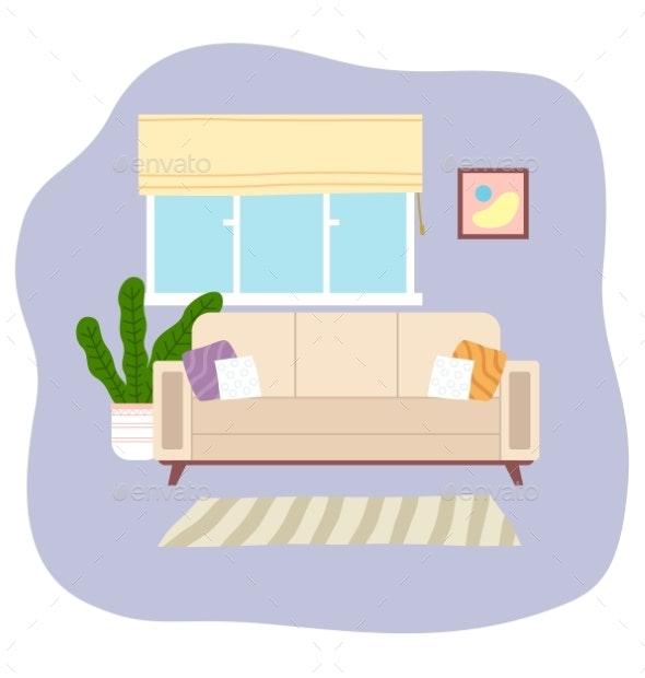 Living Room Interior Design Flat Vector - Objects Vectors