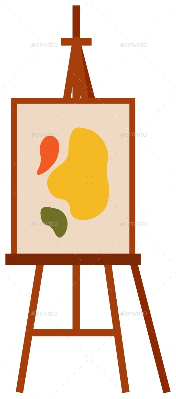 Easel with Abstract Picture on a White Isolated - Miscellaneous Vectors