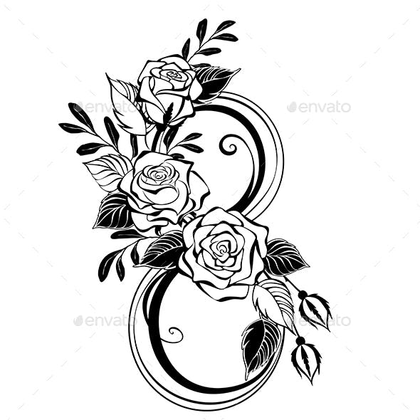 Eight with Contour Roses