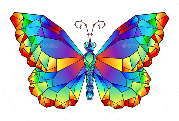 Rainbow Polygonal Butterfly - Decorative Symbols Decorative